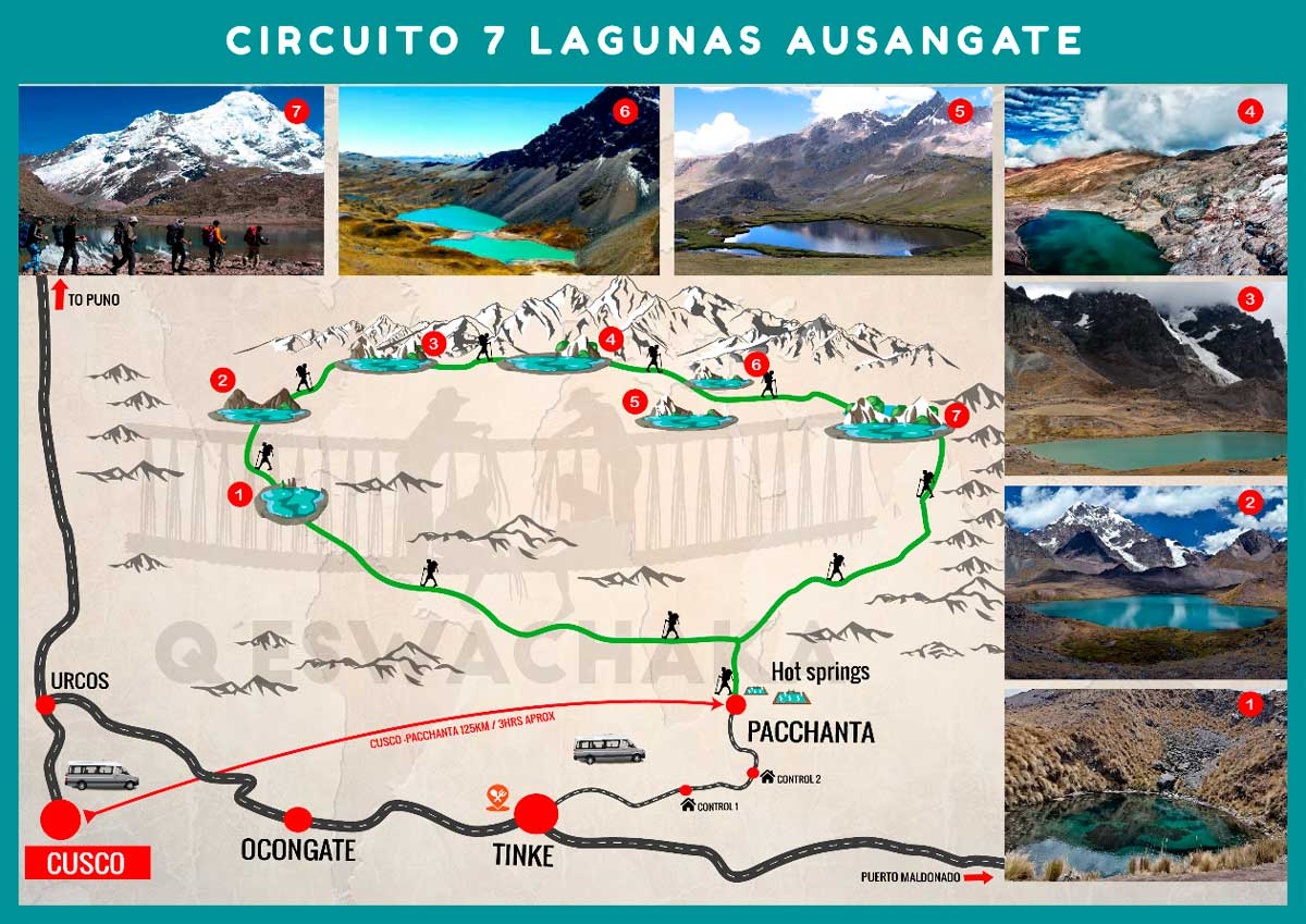 Map - Día 1: CUSCO - PACCHANTA - 7 LAGUNAS – CUSCO